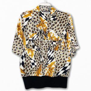 VINTAGE Royal Leopard Print Cropped 90s Blouse 8